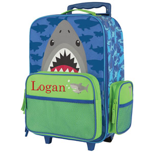 Embroidered Shark Rolling Luggage
