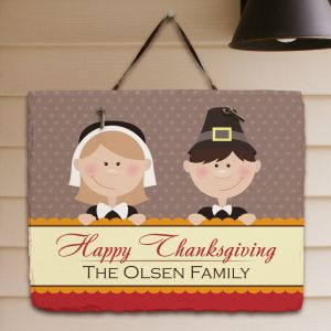 Personalized Happy Thanksgiving Slate Plaque