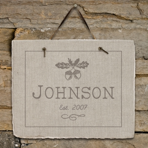 Fall Acorn Personalized Slate Plaque