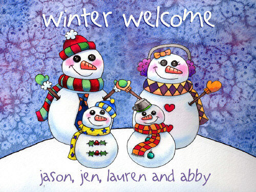 Personalized Snowman Family Slate Plaque | Personalized Christmas Signs