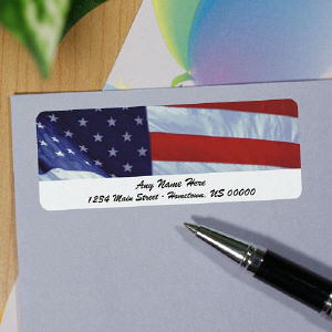 USA Flag Personalized Photo Address Labels
