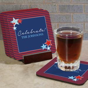 Personalized Patriotic Coaster Set