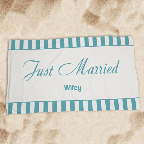 Personalized Wedding Get Away Beach Towel U594833