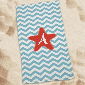 Personalized Starfish Chevron Beach Towel U674033