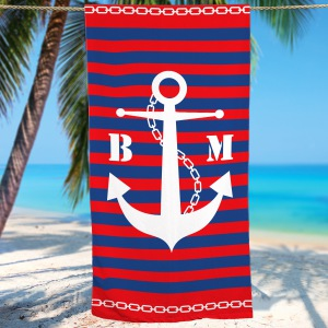 Personalized Anchor Beach Towel