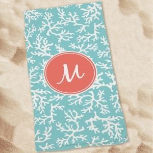 Coral Personalized Beach Throw