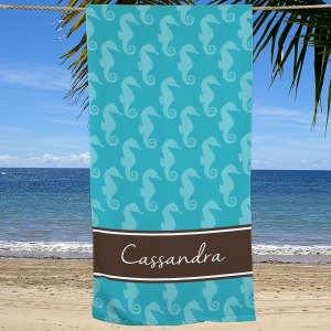 Personalized Seahorse Beach Throw