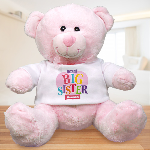 Personalized Heart Plush Big Sister Teddy Bear | Big Sister Gifts