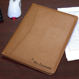 Teacher Personalized Leather Portfolio