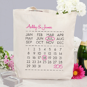 Personalized Wedding Date Tote Bag