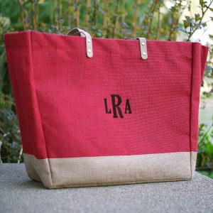 Monogram Red Burlap Tote E9470184