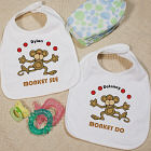 Just Monkey Around Twin Personalized Baby Bib