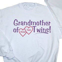 Grandmother of Twins Personalized Sweatshirt