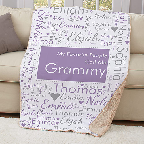 Personalized Favorite People Call Me Word-Art Sherpa Throw | Personalized Gifts for Mom