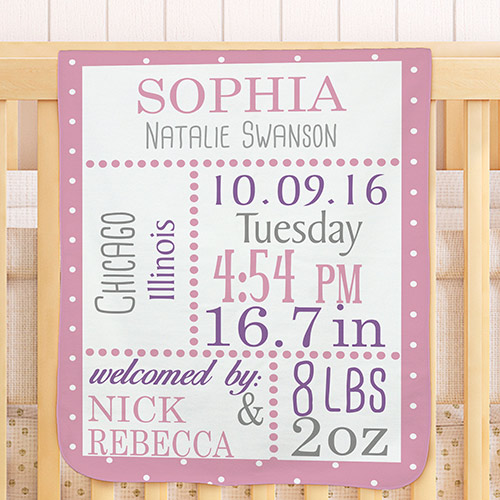 Personalized Birth Announcement Baby Blanket | Unique Baby Shower Gifts
