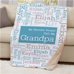 Personalized Favorite People Word-Art Sherpa Throw | Personalized Dad Gifts