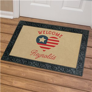Personalized Patriotic Heart Doormat U1027183X