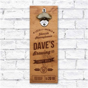 Personalized Brewing Co. Wall Bottle Opener | Gift For Him
