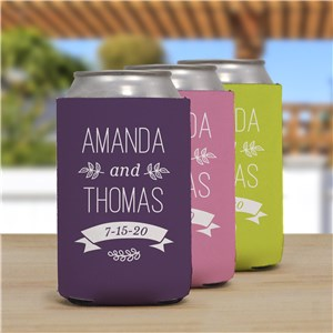 Personalized Wedding Couple Can Cooler | Personalized Wedding Can Cooler