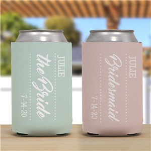 Personalized Bridal Party Can Cooler | Personalized Wedding Favors