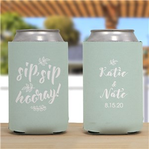 Personalized Sip,Sip, Hooray Can Cooler | Personalized Couple Gifts