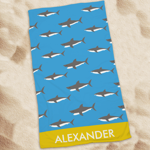 Personalized Sharks Beach Towel U1044133
