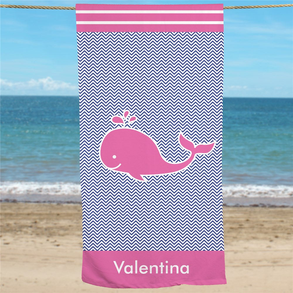 Personalized Pink Whale Beach Towel U1044233