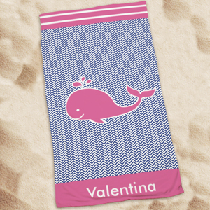 Personalized Pink Whale Beach Towel