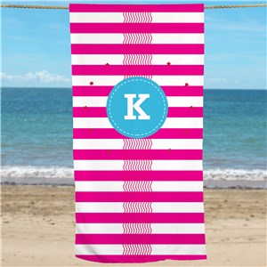 Personalized Hot Pink Waves + Stripes Beach Towel U1044533