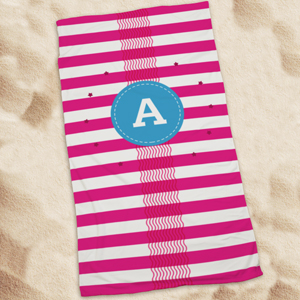 Personalized Hot Pink Waves & Stripes Beach Towel