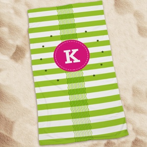 Personalized Lime Green Waves & Stripes Beach Towel