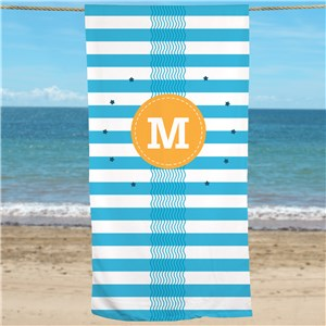 Personalized Blue Waves & Stripes Beach Towel