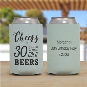 Personalized Cheers To Birthday Can Cooler U1050288
