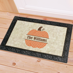 Personalizaed Family Name Pumpkin Doormat U1060783X