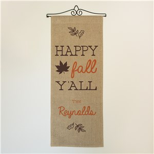 Personalized Happy Fall Y'all Wall Hanging