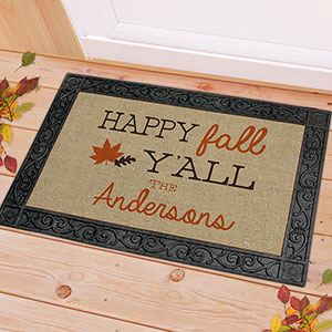Happy Fall Y'all Doormat | Personalized Doormat