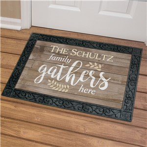 Personalized Family Gathers Here Doormat U1060983X
