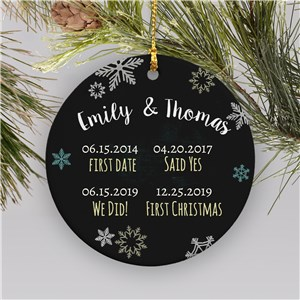 Personanlized Couple's Dates Ceramic Christmas Ornament | Personalized Couples Ornament