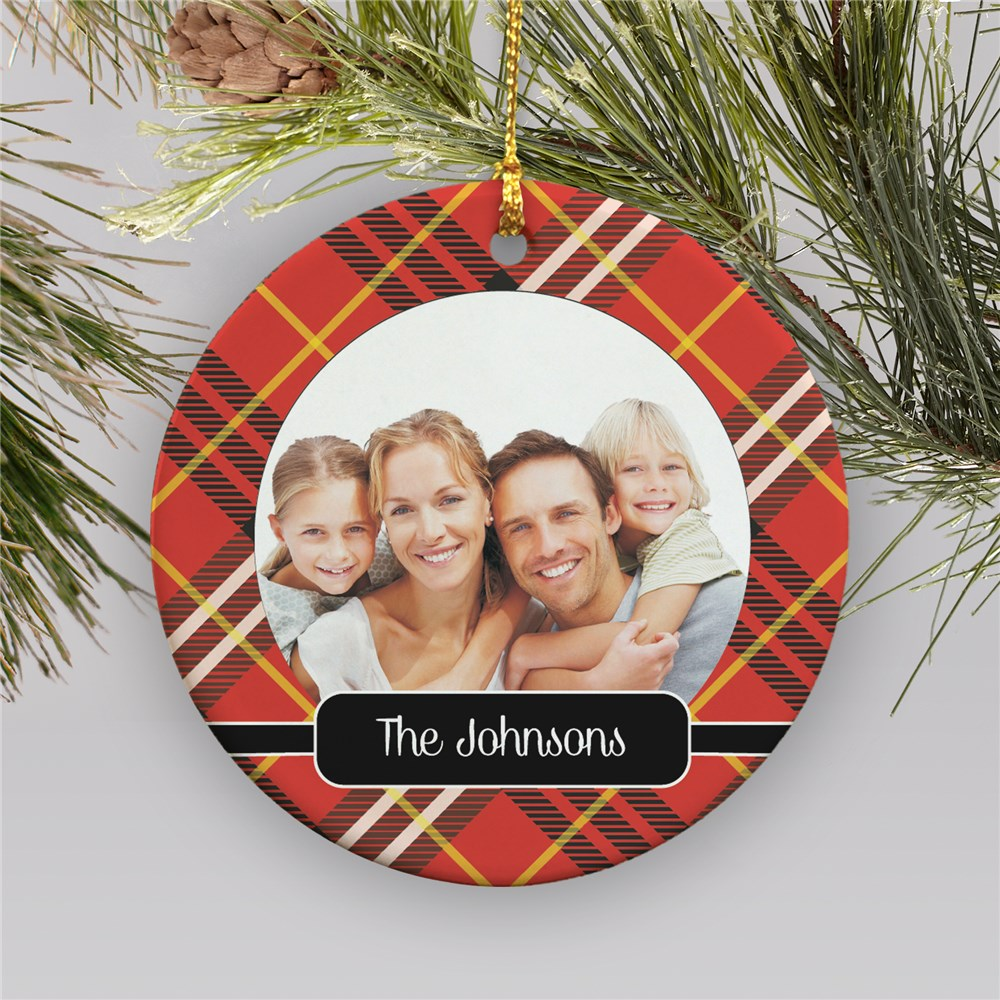 Plaid Ceramic Personalized Christmas Ornament | Personalized Ornament