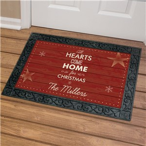 Personalized Hearts Come Home Door Mat | Personalized Christmas Doormats