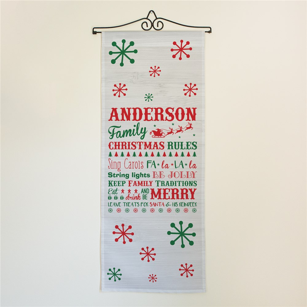 Personalized Christmas Family Rules Wall Hanging