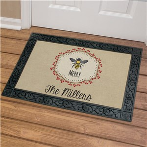 Personalized Bee Merry Doormat | Personalized Christmas Doormats