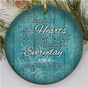 Personalized Deep In Our Hearts Memorial Ornament | Ceramic | Memorial Christmas Ornaments