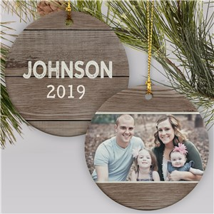 Personalized Wood Texture Ceramic Photo Ornament | Picture Ornament