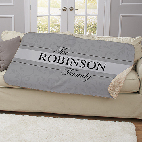 Personalized Family Name Sherpa Blanket | Housewarming Gifts