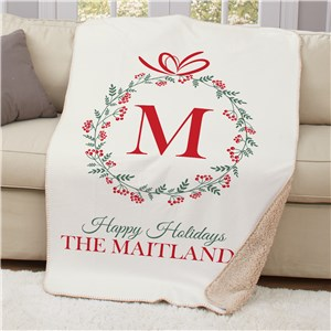Personalized Holiday Family Sherpa Blanket | Personalized Christmas Blanket