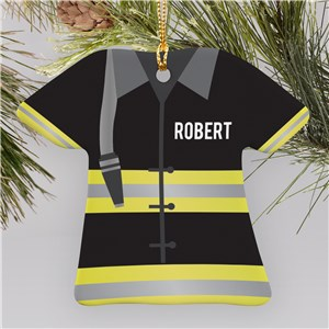 Personalized Fireman T-Shirt Ornament U1071263