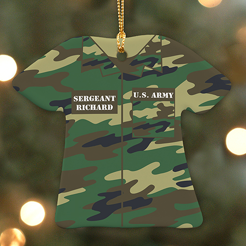 Personalized Military T-Shirt Ornament | Personalized Military Christmas Ornaments