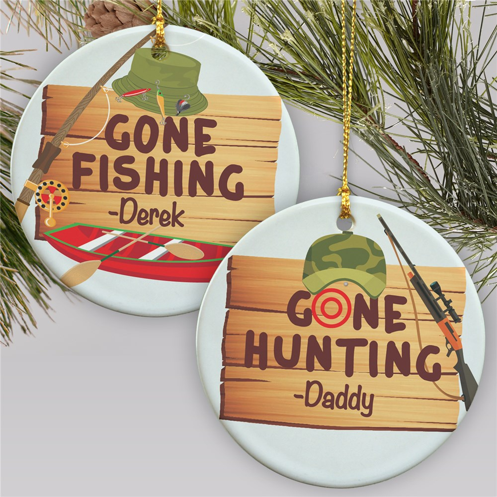 Personalized Gone Fishing Gone Hunting Ornament | Personalized Christmas Ornaments