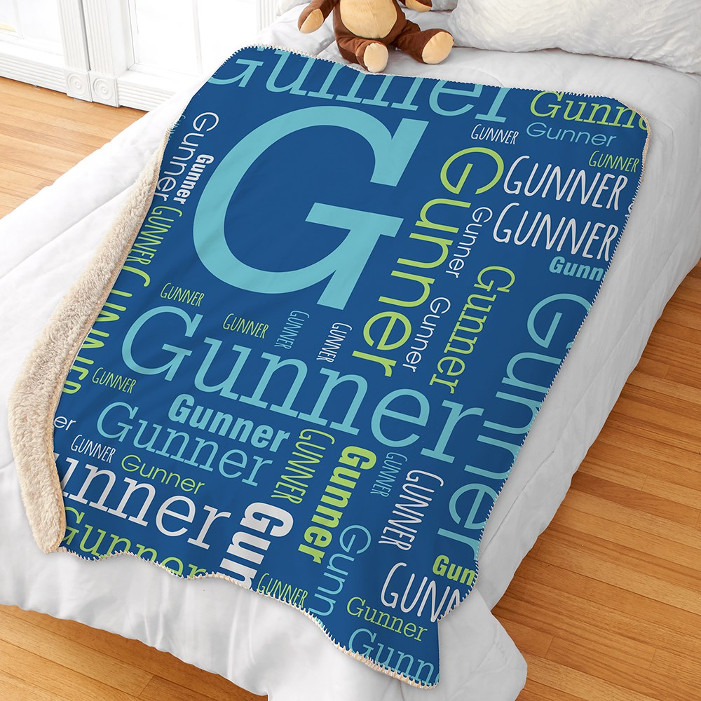Personalized Baby Word-Art Throw Blanket | Personalized Word Art